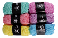 Pelotes de laine polyester, couleurs pastel - Set de 6 - Laine - 10doigts.fr