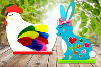 Silhouette lapin ou poule en bois + socle - Kits activités Pâques - 10doigts.fr