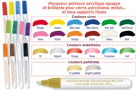Marqueurs peinture pour Verre, Porcelaine, Métal - Marqueurs - 10doigts.fr