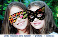 Set de 4 loups en carte à gratter + 4 grattoirs + 4 fils élastiques - Cartes à gratter - 10doigts.fr