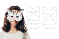 Masques animaux à décorer - Set de 12 - Mardi gras, carnaval - 10doigts.fr