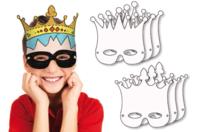 Masques Couronnes à colorier - Lot de 6 - Mardi gras, carnaval - 10doigts.fr