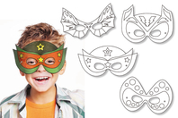Masques à colorier Super Héros - Set de 4 - Mardi gras, carnaval - 10doigts.fr