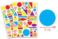 Maxi gommettes géométriques, formes assorties - 2 planches - Collage et gommettes - 10doigts.fr