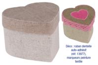 Mini-boites coeur, en lin - Lot de 4 - Objets pratiques du quotidien - 10doigts.fr