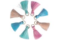 Mini pompons pastel sur anneaux - 8 pièces - Pompons - 10doigts.fr