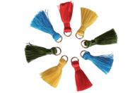 Mini pompons vifs sur anneaux - 8 pièces - Pompons - 10doigts.fr