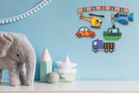 Mobiles  à colorier Dinosaures + Transports - Set de 4 - Mobiles en kit - 10doigts.fr