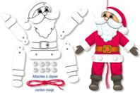 Mobile Père Noël articulé - Support pré-dessiné - 10doigts.fr