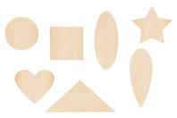 Motifs fantaisie en bois - 70 formes assorties - Motifs brut - 10doigts.fr