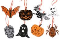Suspensions Halloween en carte à gratter - Set de 8 - Cartes à gratter - 10doigts.fr