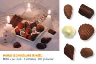 Moule chocolats - 12 motifs ( 2 x 6 formes) - Moules gourmandises - 10doigts.fr