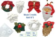 Moule 4 motifs de Noël avec trous pour suspension - Moules - 10doigts.fr