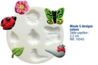 Moule flexible en silicone : 5 designs Nature - Décorations Fimo - 10doigts.fr