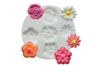 """Moule silicone """"Fleurs"""" : 5 formes - Décorations Fimo - 10doigts.fr"""