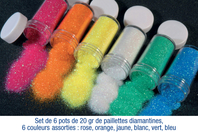 Set de 6 pots de 20 gr de paillettes ultra-fines, couleurs assorties - Paillettes à saupoudrer - 10doigts.fr