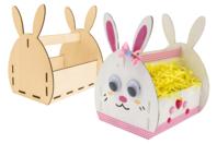 Panier lapin en bois à monter - Supports de Pâques à décorer - 10doigts.fr