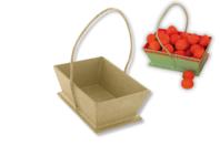 Panier en papier mâché avec cordon - Pots, vases en carton - 10doigts.fr