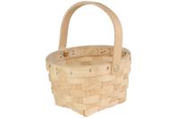 Panier rond en copeaux de bois tressé - Corbeilles et paniers - 10doigts.fr