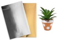 3 Feuilles transferts foil + 2 feuilles double face - Papier effet métallisé, pailleté, nacré - 10doigts.fr