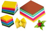 Feuilles pour pliages Origami - 10 couleurs assortis - Papiers Origami - 10doigts.fr