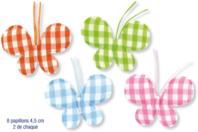 Papillons en tissu molletonné vichy - 8 pièces - Motifs en tissu molletonné - 10doigts.fr