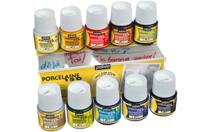 Peinture pour porcelaine couleurs assorties - 10 pots de 45 ml - Peinture Verre et Faïence - 10doigts.fr