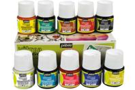 Peinture pour verre, couleurs translucides -10 pots de 45 ml - Peinture Verre et Faïence - 10doigts.fr