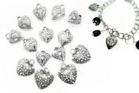 Perles pendentifs cœurs argenté - Set de 14 perles - Perles intercalaires & charm's - 10doigts.fr