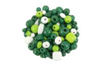 Perles en bois en camaïeu de vert - 110 perles - Perles en bois - 10doigts.fr