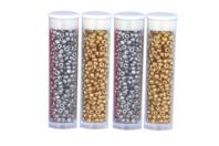Tubes de rocailles Or et Argent - Set de 4 - Perles de rocaille - 10doigts.fr