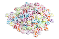 Perles alphabet fleurs - Set de 300 - Perles en plastique - 10doigts.fr