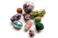 Perles Bollywood en pâte polymère incrustée - 10 perles - Bijoux Bohème - 10doigts.fr