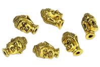 Perles Buddha en métal doré - set de 6 - Perles Lithothérapie - 10doigts.fr