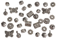 Perles charm's intercalaires argentés - 30 perles - Perles intercalaires & charm's - 10doigts.fr