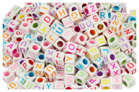 Perles carrées alphabet multicolore - 280 perles - Perles Alphabet - 10doigts.fr