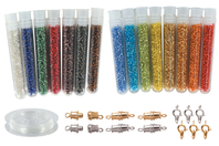 Kit bijoux en perles de rocailles + fil nylon + fermoirs - Perles de rocaille - 10doigts.fr