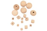 Perles assorties en bois naturel - Set de 18 - Porte-clefs, stylo-bille - 10doigts.fr