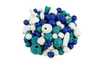 Perles en bois en camaïeu de bleu - 110 perles - Perles en bois - 10doigts.fr