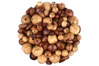 Perles en bois naturel verni - Set de 200 - Perles en bois - 10doigts.fr