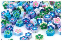 Perles fleurs Millefiori - 100 perles - Perles en pâte polymère - 10doigts.fr