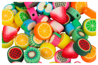 Perles fruits en pâte polymère - 50 perles - Perles en pâte polymère - 10doigts.fr