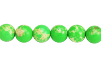 Perles Jaspe Impérial vert - Set de 48 - Perles Lithothérapie - 10doigts.fr