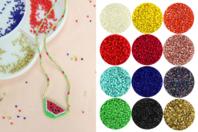 Perles en verre, tissage Peyote - Set de 12 couleurs - Tissage de perles - 10doigts.fr