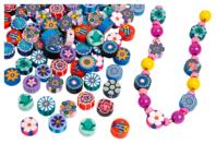 Perles rondelles Millefiori en pâte polymère - 100 perles - Perles en pâte polymère - 10doigts.fr