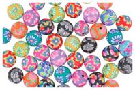 Perles rondes Millefiori en pâte polymère - 50 perles - Perles en pâte polymère - 10doigts.fr