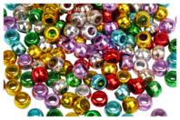 Perles rondes couleurs métallisées - Set de 160 - Perles en plastique - 10doigts.fr