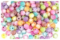 Perles rondes gravées d'une rose - 200 perles - Perles acrylique - 10doigts.fr