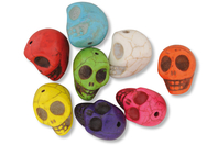"""Perles """"Skull"""" en magnésite - 8 pcs - Pierres semi précieuses et minérales - 10doigts.fr"""
