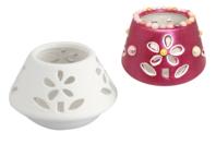 Photophore fleurs en céramique - Supports en Céramique et Porcelaine - 10doigts.fr